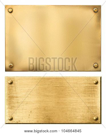 Brass or gold metal plates isolated