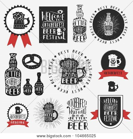 Set Of Typographic Vintage Craft Labels/symbol/emblems Beer.
