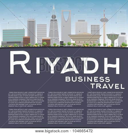 Riyadh skyline with grey buildings and blue sky. Vector illustration. Business and tourism concept with skyscrapers and copy space. Image for presentation, banner, placard or web site
