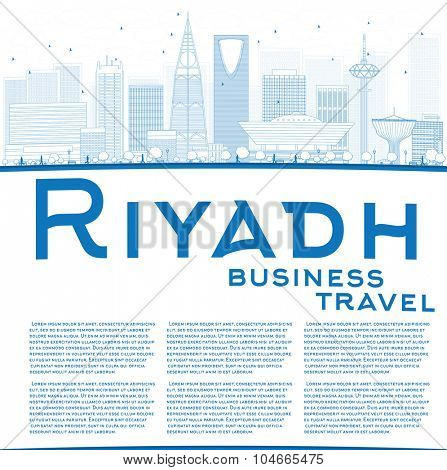 Outline Riyadh skyline with blue buildings. Vector illustration. Business and tourism concept with skyscrapers and copy space. Image for presentation, banner, placard or web site