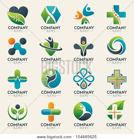 Medical logo icons set