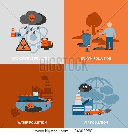 Environmental Problems Icons Set
