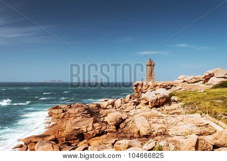 Ploumanach Mean Ruz lighthouse Brittany, France