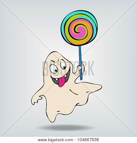 Very Cute funny ghost showing tongue with big lollipop.