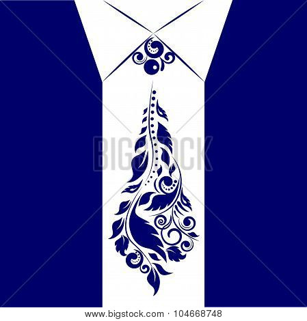 Jacket and tie of floral ornament for Father's Day