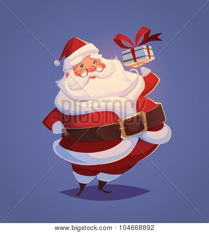 Funny santa. Christmas greeting card \ background \ poster. Vector illustration.