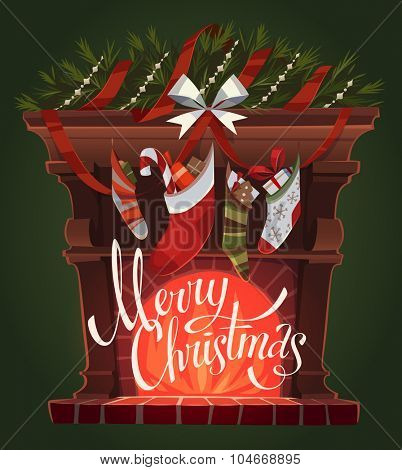 Decorated fireplace. Christmas greeting card \ background \ poster. Vector illustration.