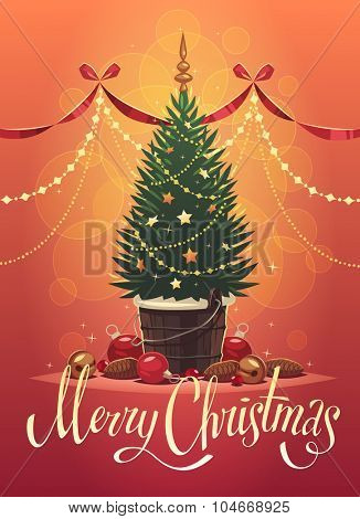 Christmas tree. Christmas greeting card \ background \ poster. Vector illustration.