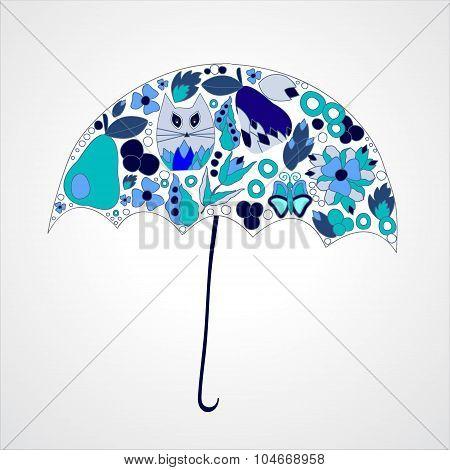 Autumn Background. Isolated Art Umbrella. Stock Vector Illustration