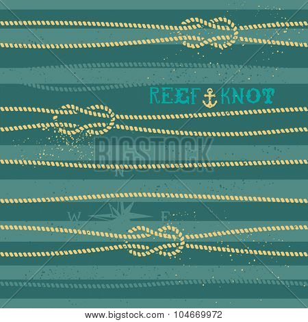 Vintage nautical knot seamless pattern