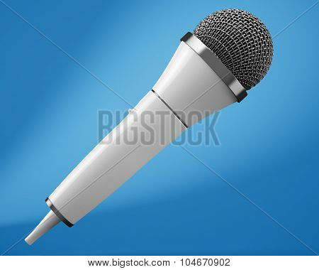 White Microphone On Blue Background