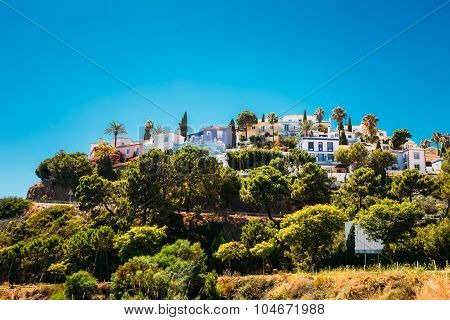 Whitewashed House In Malaga region, Andalusia, Spain. Sunny Day