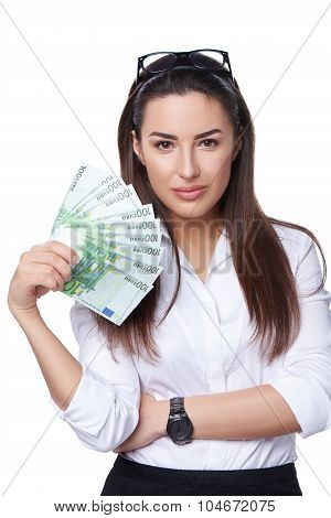 Business woman with Euro banknotes