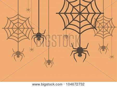 Halloween Background Spider With Cobweb