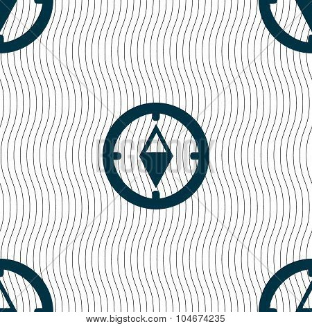 Compass Sign Icon. Windrose Navigation Symbol. Seamless Pattern With Geometric Texture. Vector
