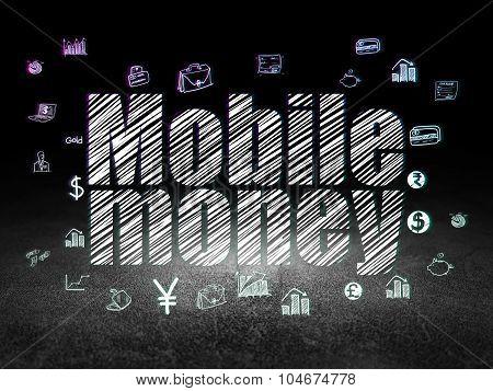 Banking concept: Mobile Money in grunge dark room