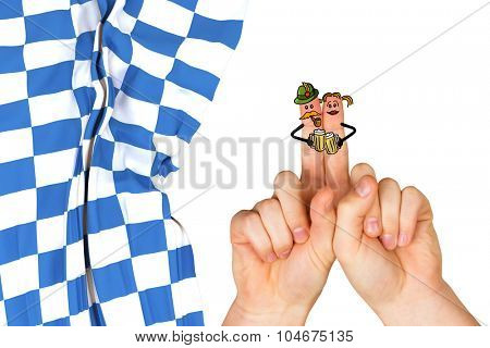 Oktoberfest character fingers against blue and white flag