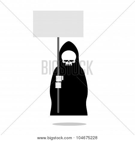 Death With An Blank Paper Over Head. Grim Reaper In Black Clothes Holding  Banner