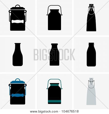 Milk cans and bottles