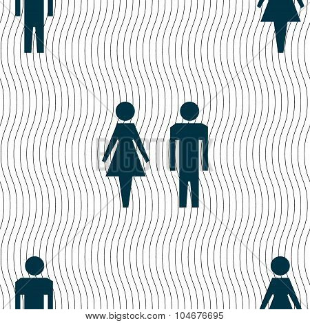 Wc Sign Icon. Toilet Symbol. Male And Female Toilet. Seamless Pattern With Geometric Texture. Vector