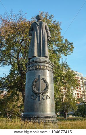 Moscow, Russia - September 25, 2015:  City artistic park Muzeon. Felix Dzerzhinsky's sculpture, inspirer of creation of KGB of the USSR.