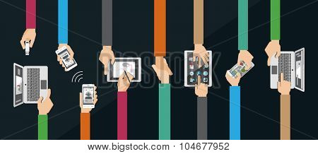 Flat design vector illustration of hands holding and using computer and communication devices. Business meeting