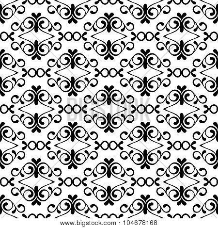 Vector Seamless Black And White Vintage Flourish Pattern.