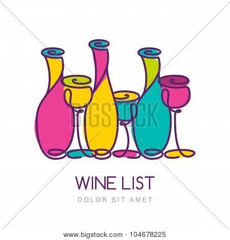 Vector Trendy Illustration Of Multicolor Wine Bottles And Glass. Logo Design Template.