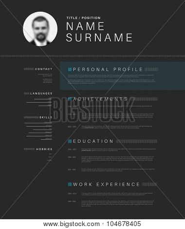 Vector minimalist dark gray cv / resume template design with profile photo