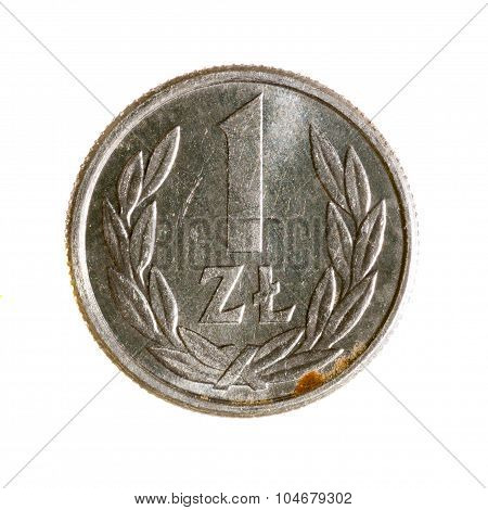 Coin One Zloty Poland Isolated On White Background. Top View.