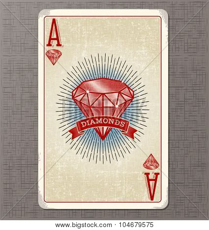 Vintage playing card. Ace of Diamonds with illustrated diamond and ribbon banner