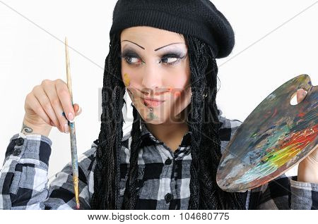 Young Stylish Woman With Dreads In Painter Style