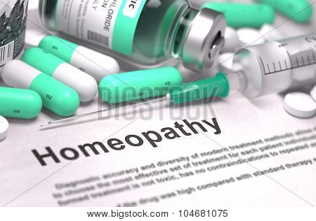 Homeopathy - Medical Concept. Composition of Medicament.