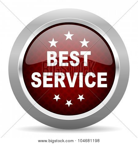 best service red glossy web icon