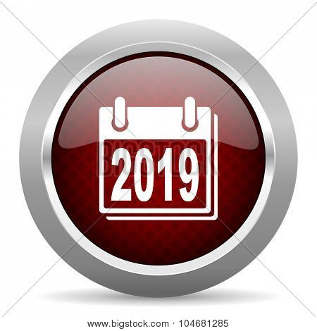 new year 2019 red glossy web icon