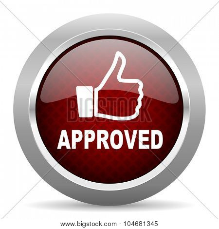 approved red glossy web icon