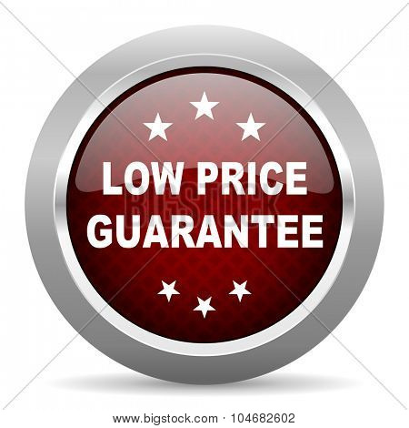 low price guarantee red glossy web icon