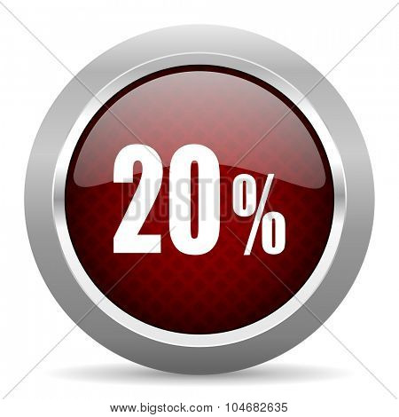 20 percent red glossy web icon