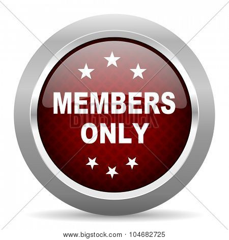 members only red glossy web icon