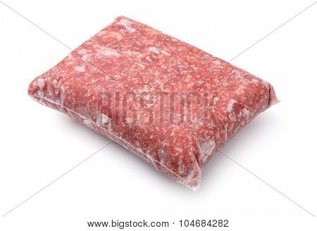 Pack of frozen ground meat isolated on white