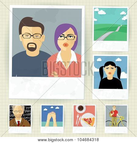 Snapshot memories. Vector mock up and elements.