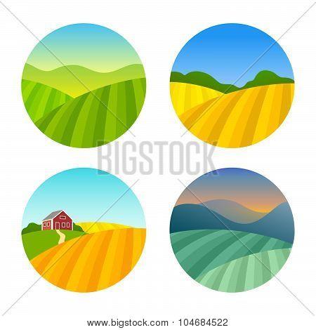 Set of Farm Fields Landscapes
