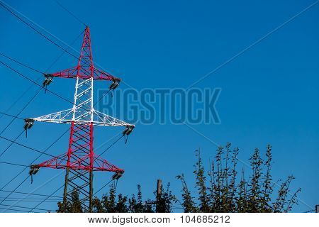 pylon red and white, a symbol of power, power supply, electromagnetic pollution