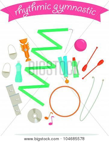 Vector set of rhythmic gymnastic elements. Sport signs and icon design.