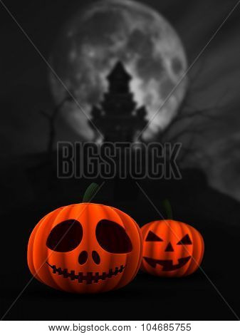 3D render of spooky pumpkins in haunted castle landscape
