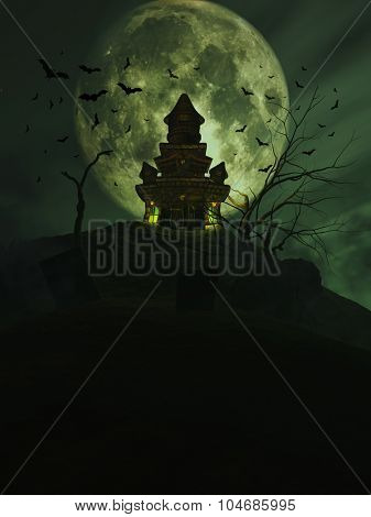 3D Halloween background with a haunted castle and bats in the sky