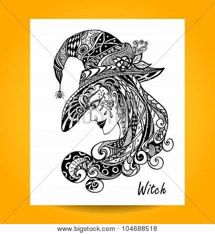 Witch in hat in zentagle ornament style black on white