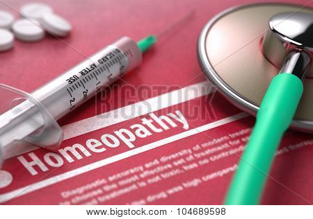 Homeopathy - Medical Concept on Red Background.