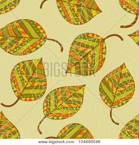 Colorful autumn leaves seamless pattern.