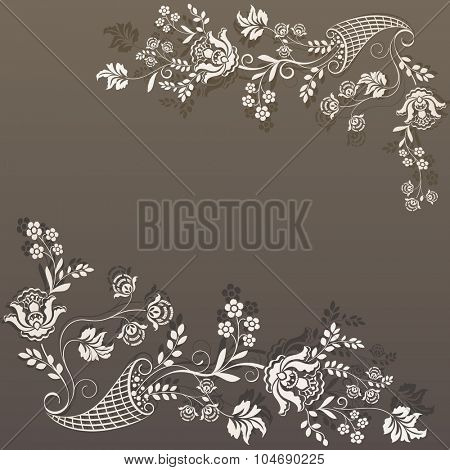 Retro brown flower design vector card template.